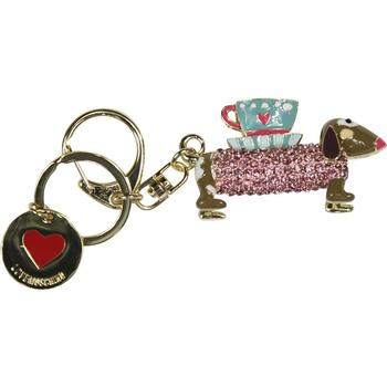 Love Moschino Women's Gold Rhinestone Dog Keyring Handbag Charm Dangle