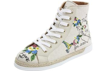 Love Moschino Women's Fashion Embroidered Canvas High Top Sneakers Shoes