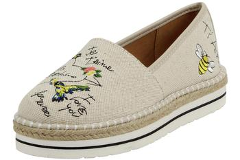 Love Moschino Women's I Love You Natural Canvas Slip-On Loafers Shoes