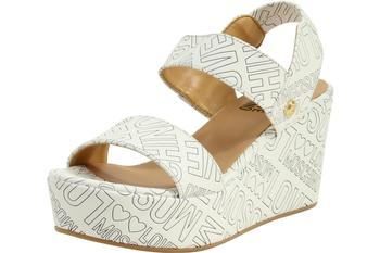 Love Moschino Women's Embossed Logo Wedge Heels Sandals Shoes