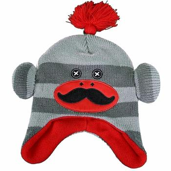Critter Collection Boy's Knit Grey/Red Sock Monkey Fleece Hat Sz. 4-7  UPC:705586696592