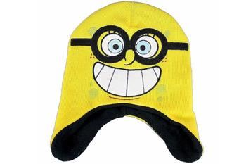 Spongebob Squarepants Yellow Knit Fleece Hat & Gloves Set Sz. 4-7  UPC:705586696585