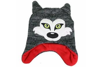 Critter Collection Knit Grey/Red Fox Fleece Hat & Gloves Set Sz. 4-7  UPC:705586696394