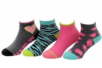 Stride Rite Toddler/Little Girl's 4-Pairs Frances Fierce Pattern Quarter Socks