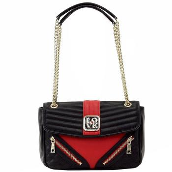 Love Moschino Women's Quilted & Zipper Double Chain Handle Satchel Handbag