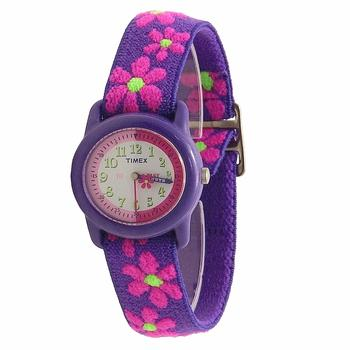Timex Girl's T890229J Purple Flowers Elastic Analog Watch  UPC:048148890220