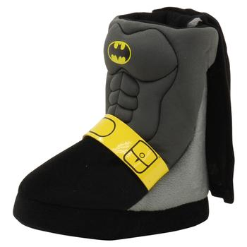 Batman Boy's Caped Crusader Grey/Black/Yellow Boots Slippers Shoes  UPC: