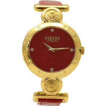 Versus By Versace Women's SOL030015 Sunnyridge Gold/Red Leather Analog Watch