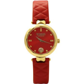 Versus By Versace Covent Garden SCD060016 Gold/Red Genuine Leather Analog Watch  UPC: