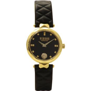 Versus By Versace Covent Garden SCD050016 Gold/Black Leather Analog Watch  UPC: