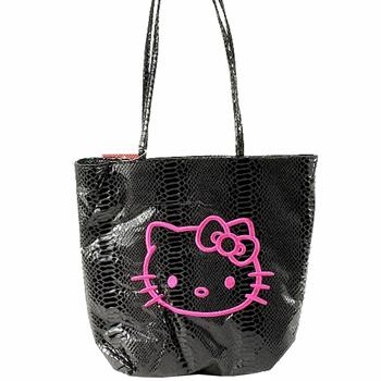 Sanrio Hello Kitty Black Python Tote Bag  UPC: