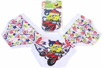 Spongebob Squarepants Daredevil Boy's 3-Pair Pack Cotton Brief Underwear Sz. 4  UPC:705586696738