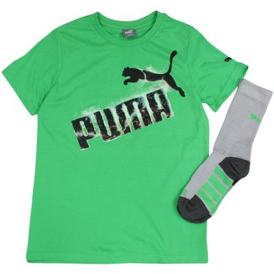 Puma Boy's 2-Piece Electric Logo Short Sleeve Crew Neck T-Shirt & Sock Set  UPC: