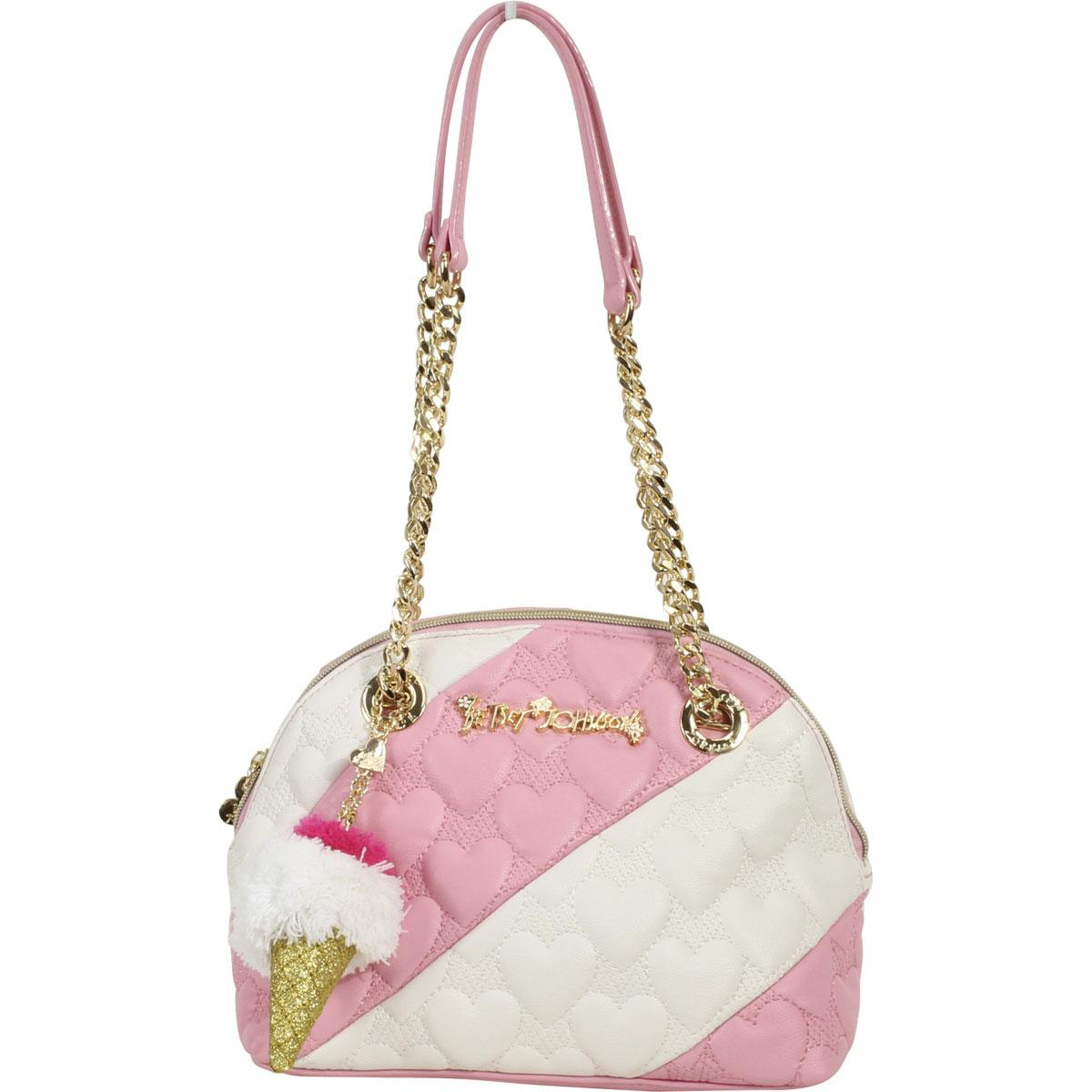 Betsey Johnson Women S Split Decision Quilted Heart Dome Satchel Handbag By