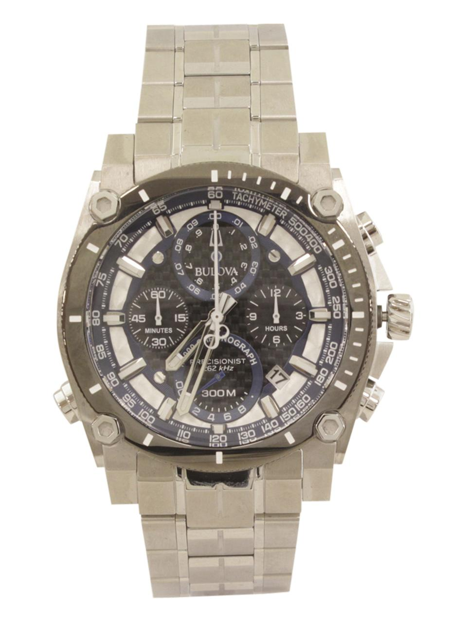 Bulova Men s Precisionist 98B316 Silver Chronograph Analog Watch