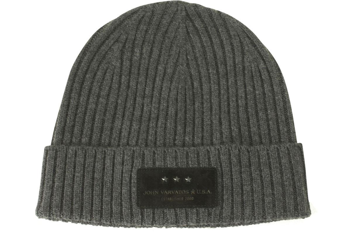 John Varvatos Men s Merino Wool Ribbed Knit Cuffed Beanie Hat by John  Varvatos 2ea9940f0fd5