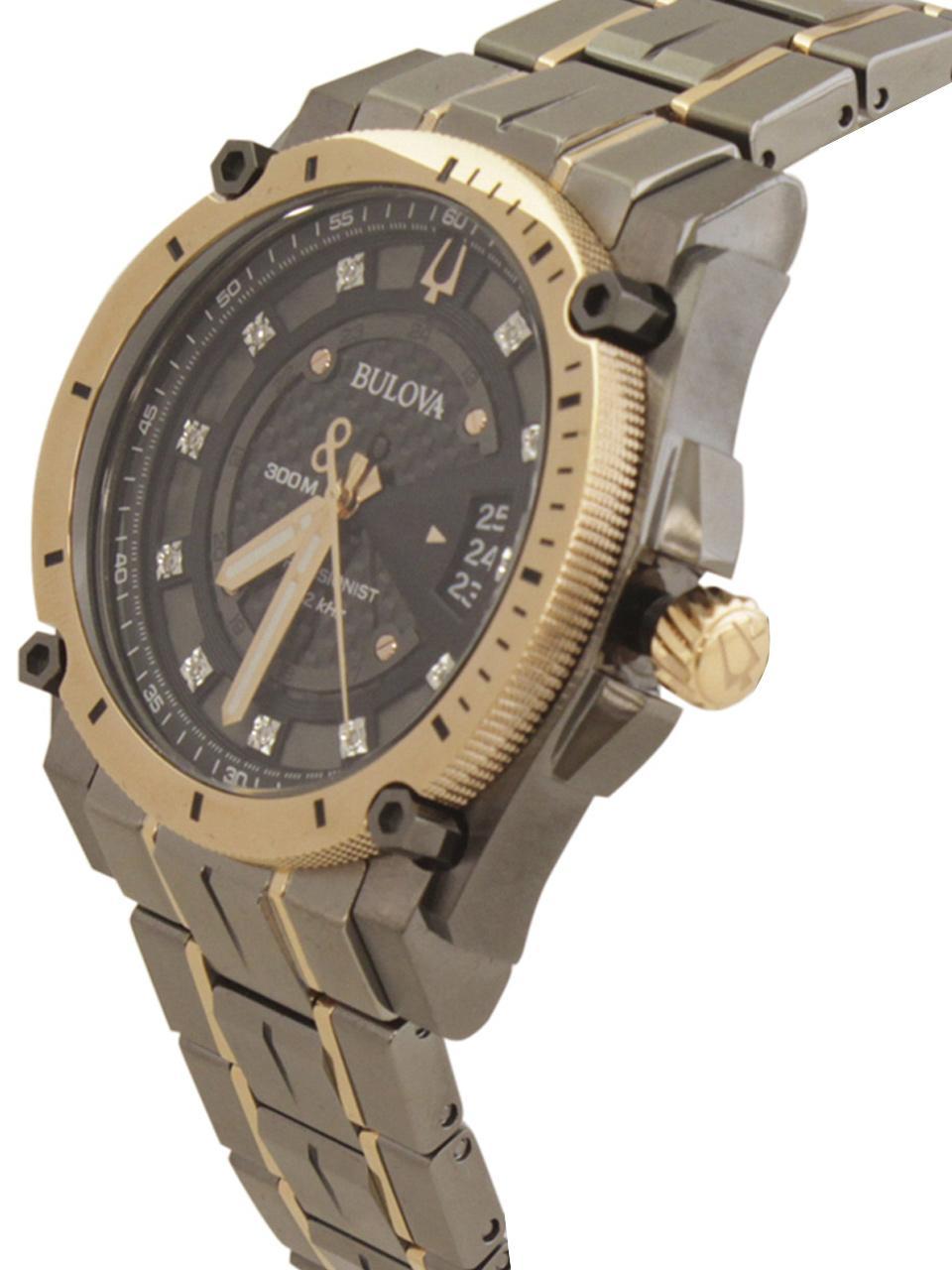 Image of Bulova Men s Precisionist 98D149 Grey Rose Gold Diamond Analog Watch