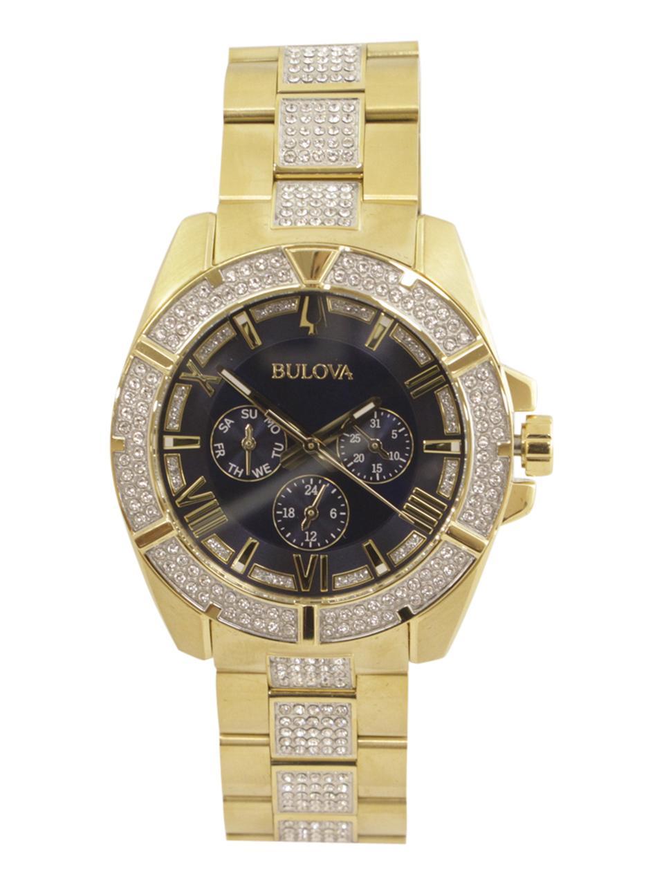 Image of Bulova Octava 98C128 Two Tone Gold Silver Swarovski Chronograph Analog Watch