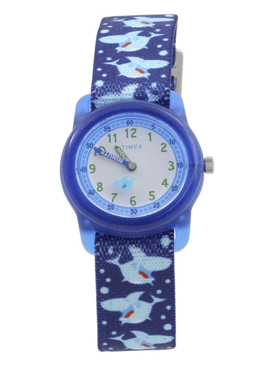 Image of Timex Boys s TW7C13500 Time Machines Blue Shark Analog Watch