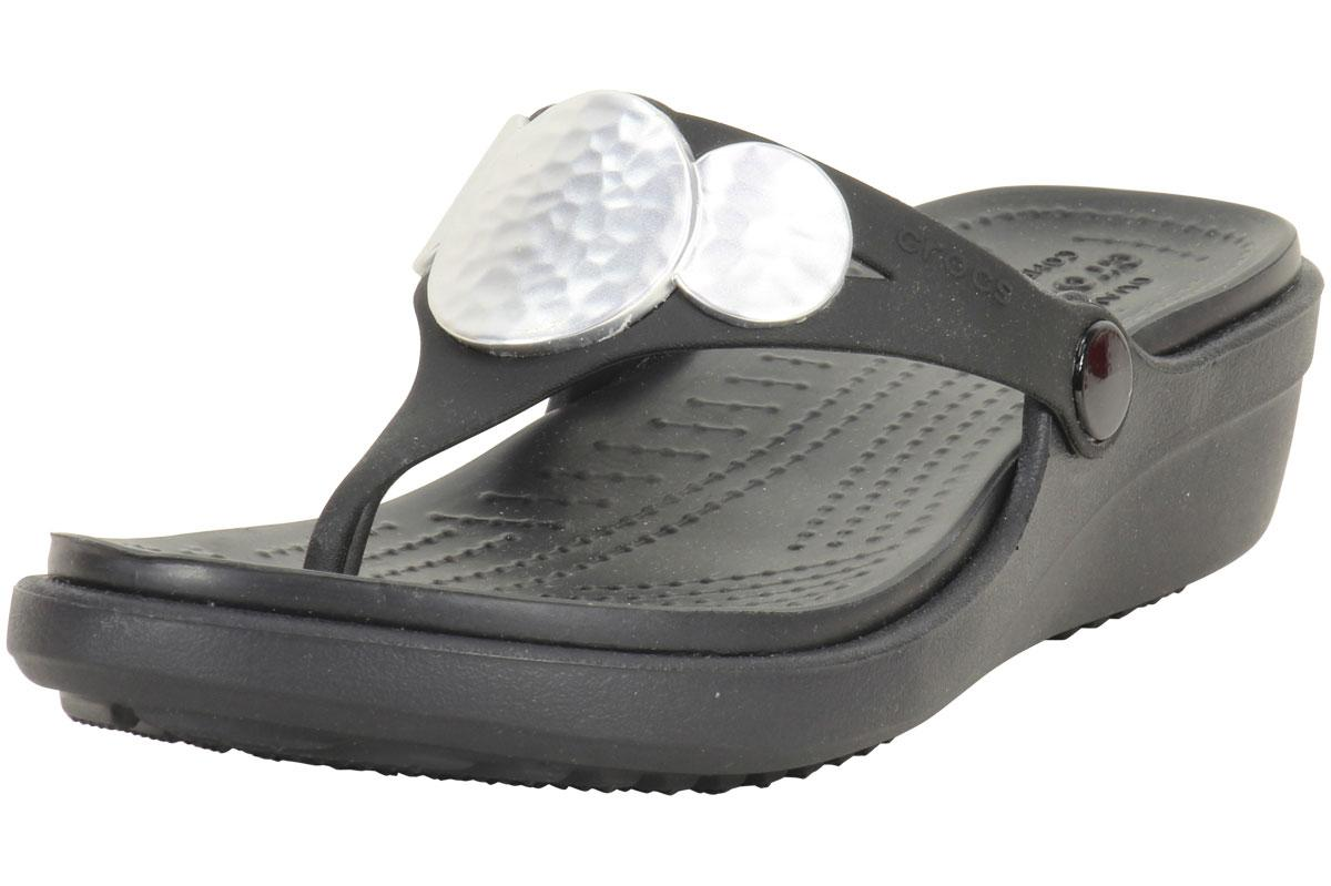 a161f81e0d07c Crocs Women s Sanrah Embellished Wedge Flip Flops Sandals Shoes by Crocs