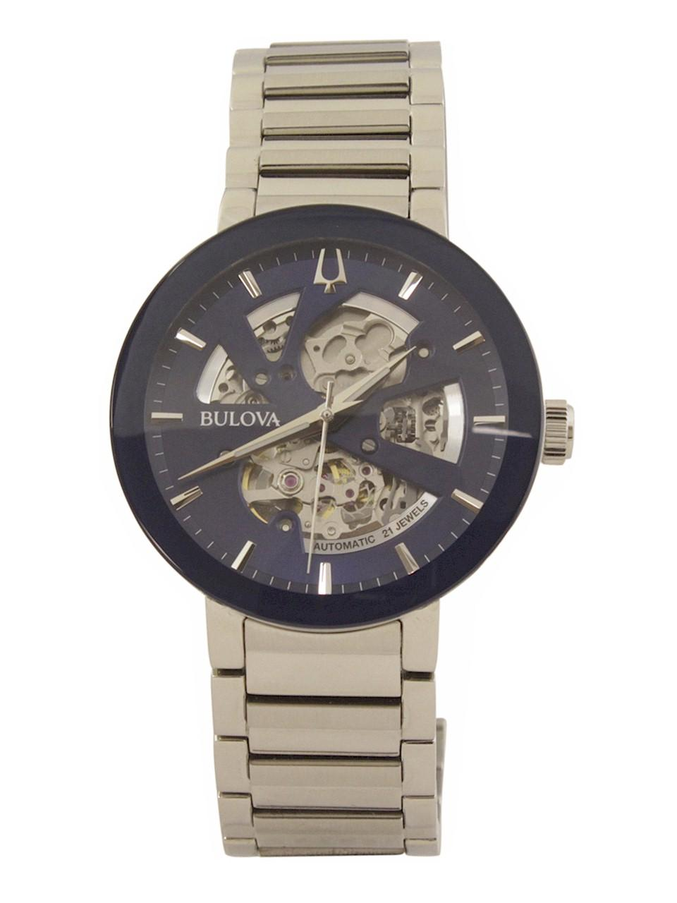 Image of Bulova Men s Modern 96A204 Silver Blue Skeleton Analog Watch