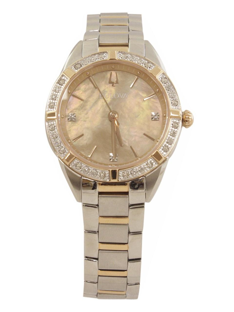 Image of Bulova Women s 98R264 Rose Gold Stainless Steel Analog Watch