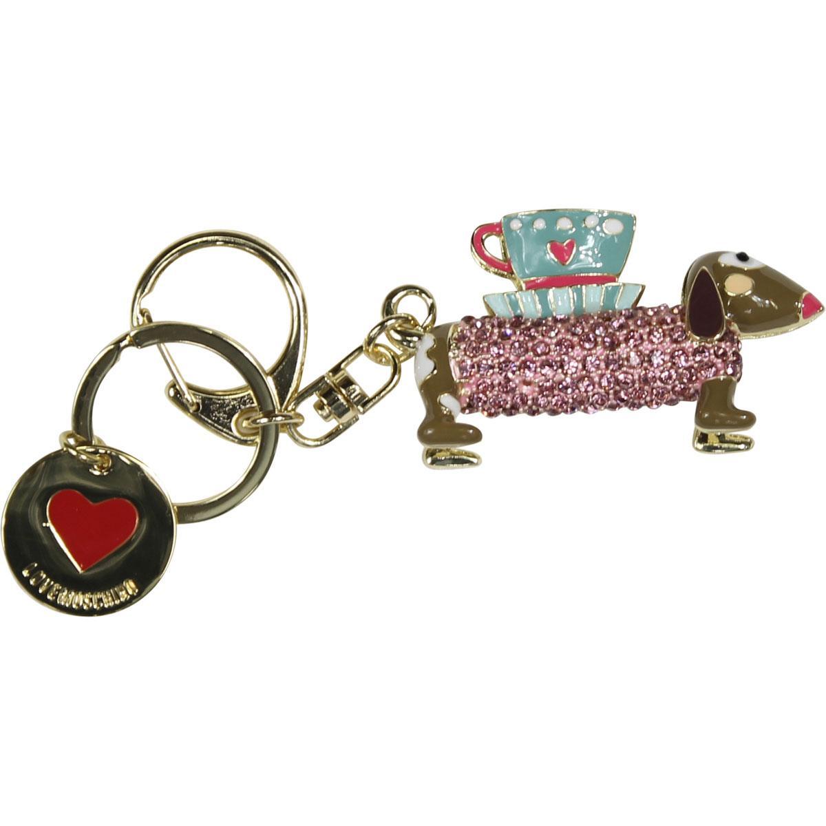 Love Moschino Women's Gold Rhinestone Dog Keyring Handbag Charm Dangle