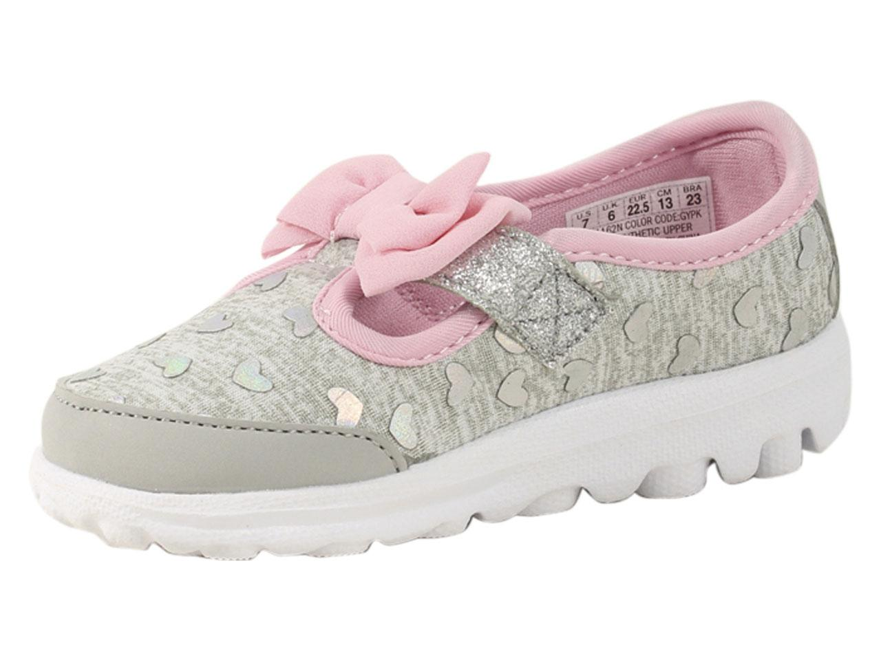 e23f8328f1c3c Skechers Toddler Girl's Go Walk Bitty Hearts Gray/Pink Loafers Shoes ...