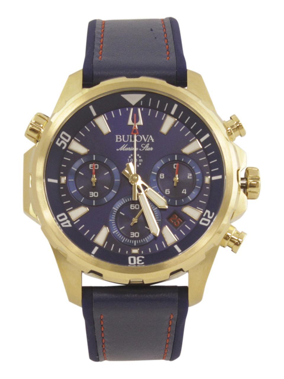 Image of Bulova Men s Marine Star 97B168 Gold Blue Chronograph Analog Watch