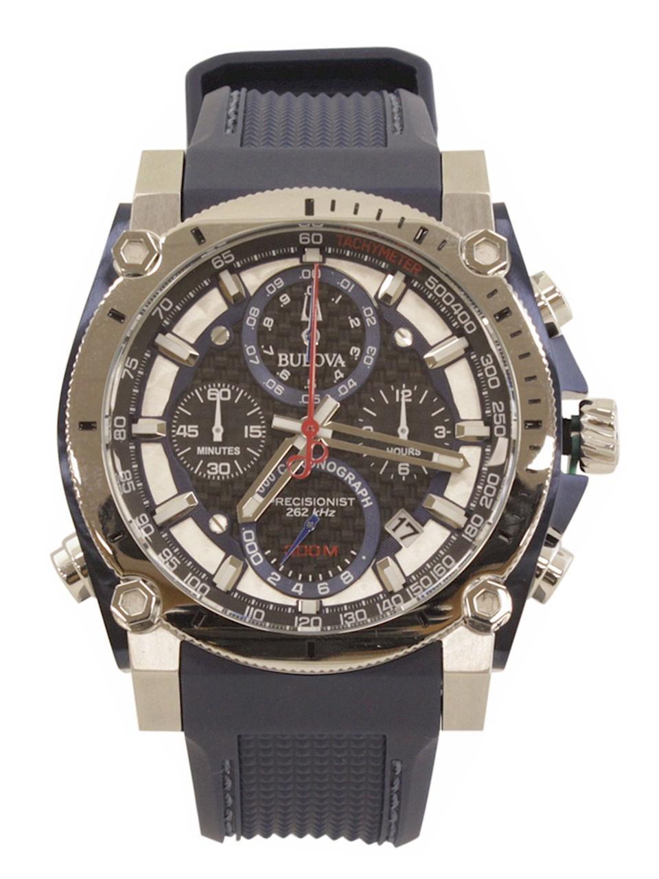 Image of Bulova Men s Precisionist 98B315 Blue Silver Chronograph Analog Watch