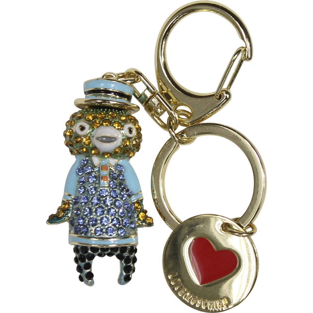 Love Moschino Women's Gold Rhinestone Bear Keyring Handbag Charm Dangle