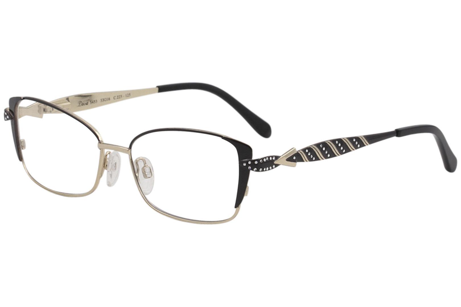 818c6260bf Diva Women s Eyeglasses 5453 223 Black Gold Full Rim Optical Frame ...