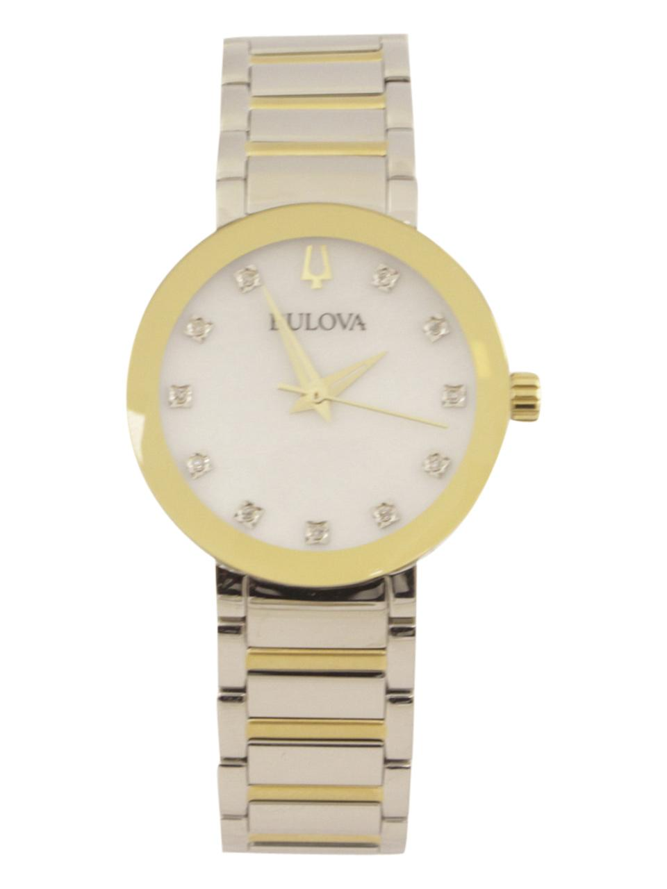 Bulova Women s Modern 98P180 Two Tone Silver Gold Diamond Analog Watch