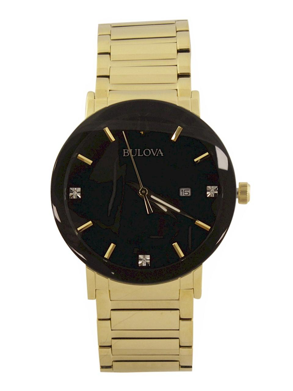 Image of Bulova Men s Modern 97D116 Gold Black Analog Watch