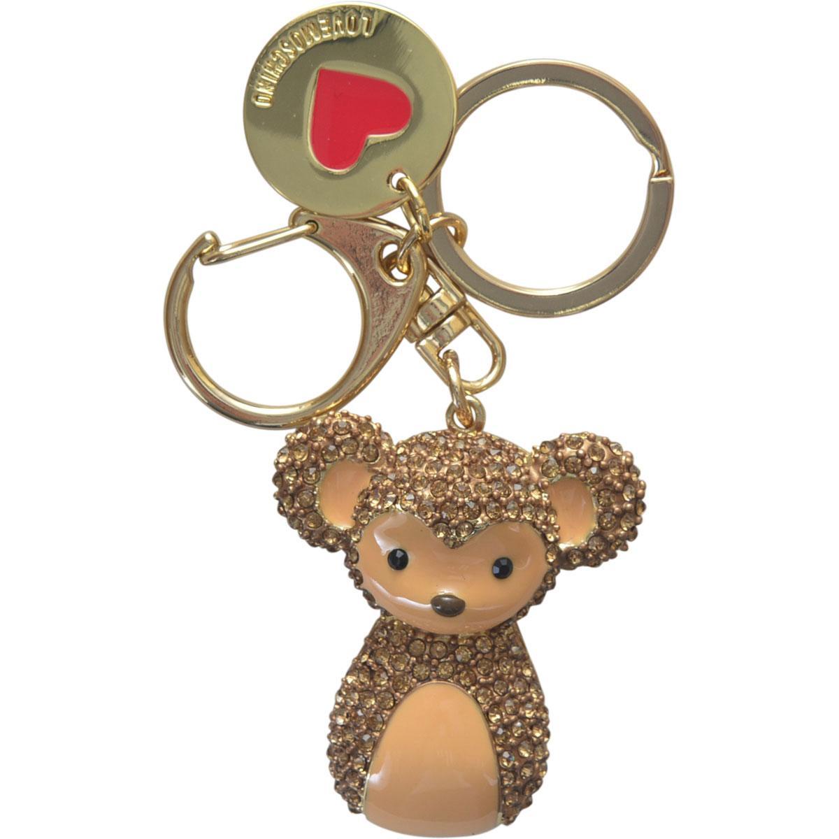 Love Moschino Women's Gold Rhinestone Monkey Keyring Handbag Charm Dangle