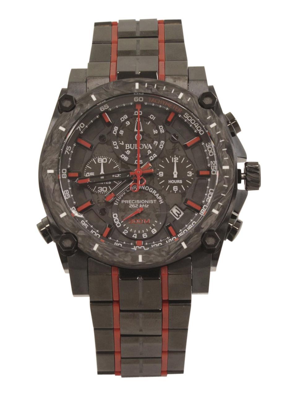 Image of Bulova Men s Precisionist 98B313 Black Red Chronograph Analog Watch