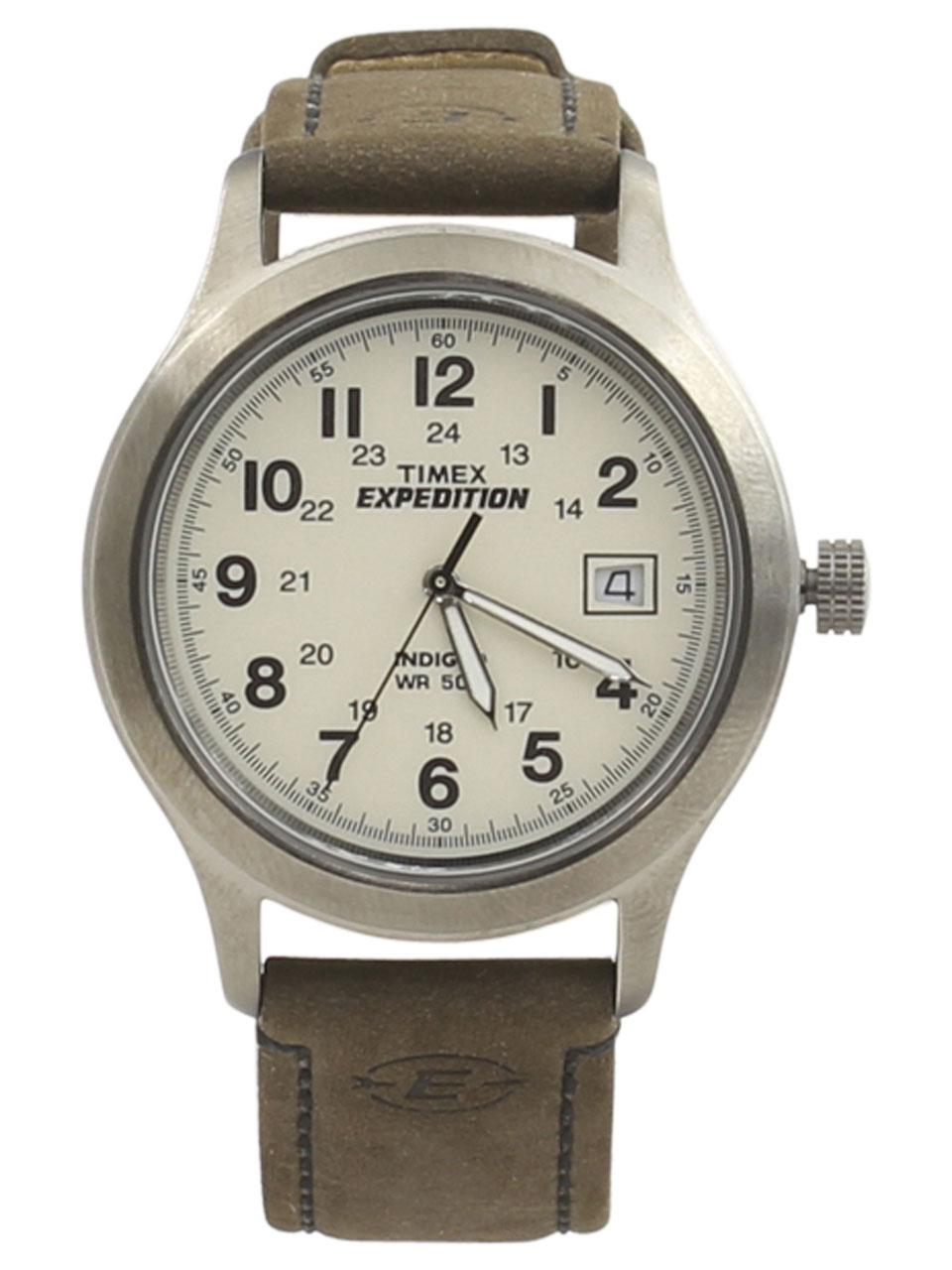 Timex Men s T49870 Expedition Silver Brown Analog Watch