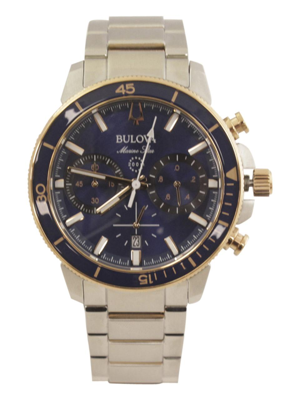 Image of Bulova Men s Marine Star 98B301 Silver Rose Gold Chronograph Analog Watch