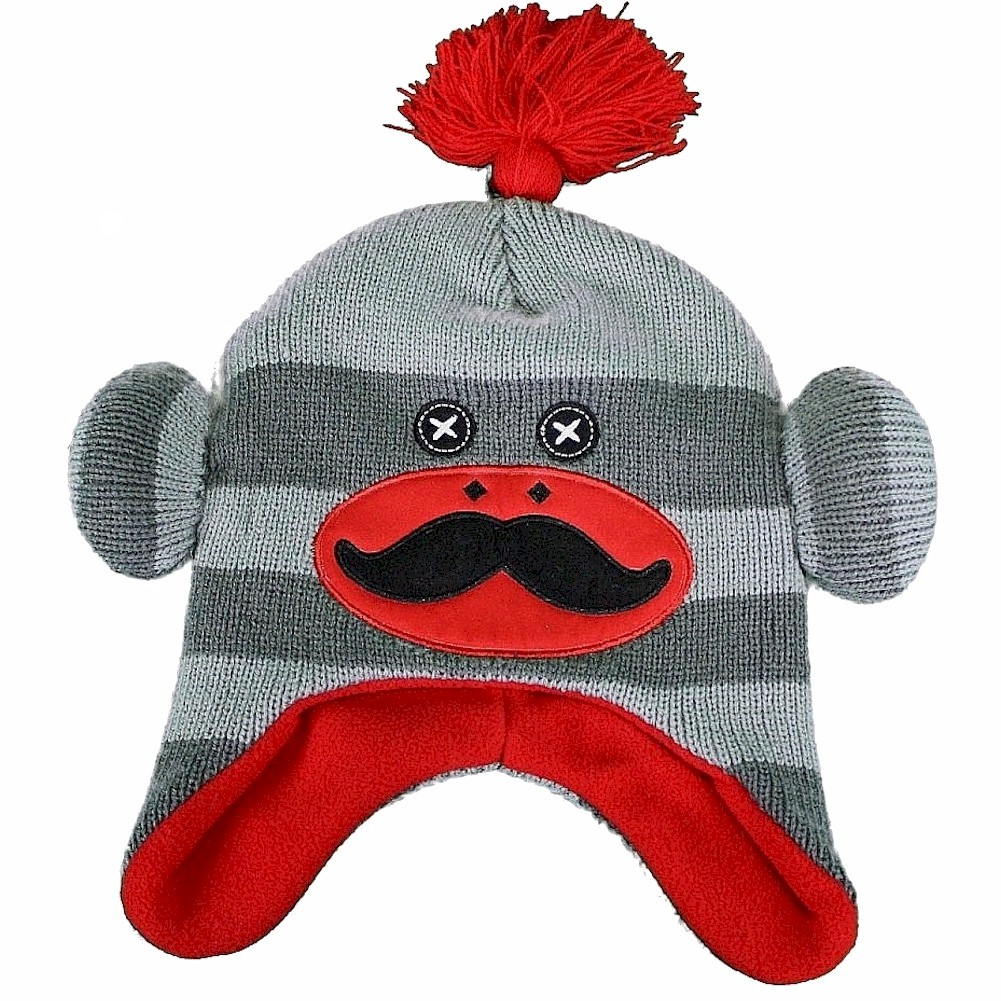 Image of Critter Collection Boy s Knit Grey Red Sock Monkey Fleece Hat Ages 4 7
