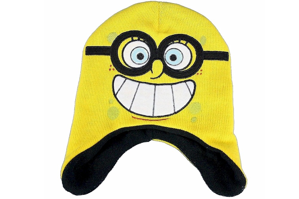 Spongebob Squarepants Yellow Knit Fleece Hat Gloves Set Sz 4 7