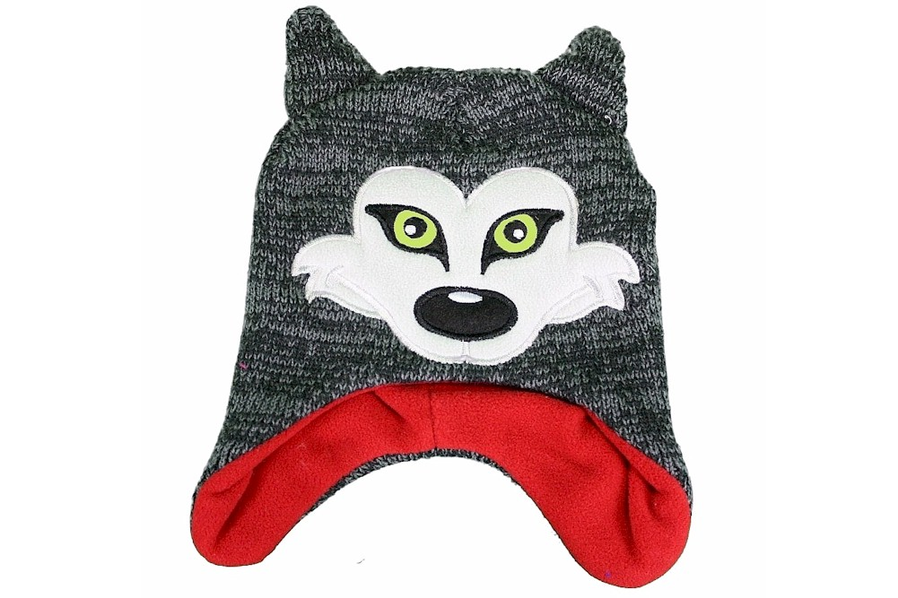 Image of Critter Collection Knit Grey Red Fox Fleece Hat Gloves Set Ages 4 7