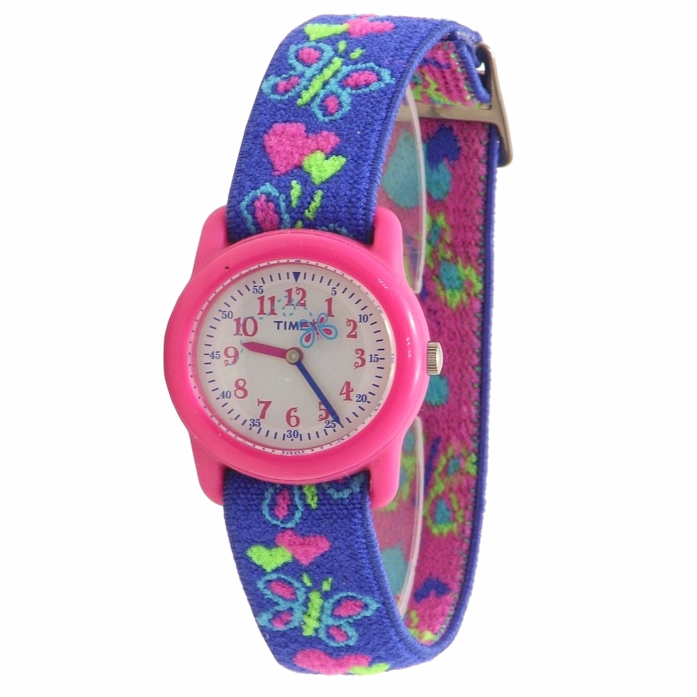 Image of Timex Kids Girl s T89001 Hearts   Butterflies Blue Indiglo Analog Watch