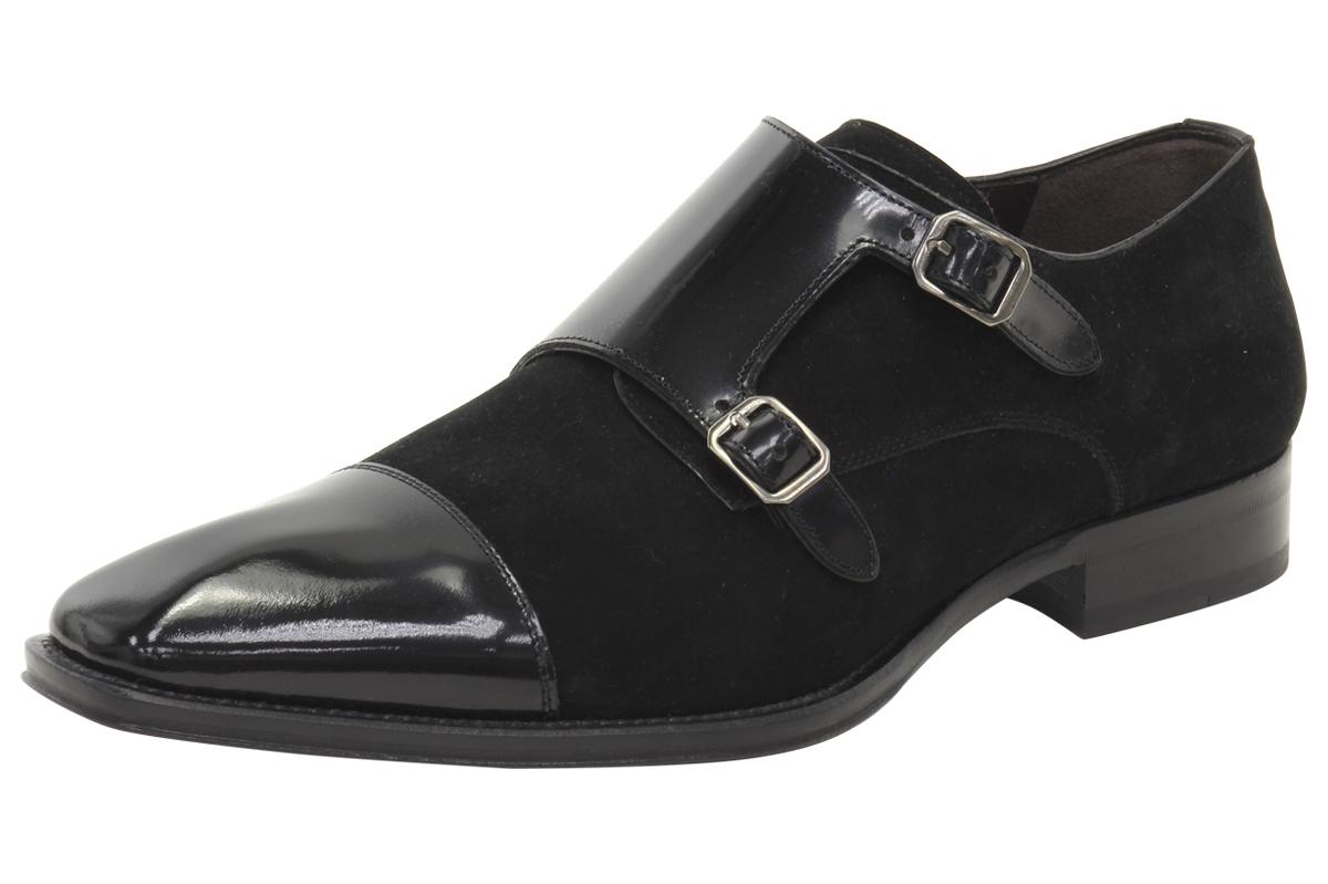 a979a452a22eb Mezlan Men's Tulsa Suede/Patent Double Monk Strap Loafers Shoes