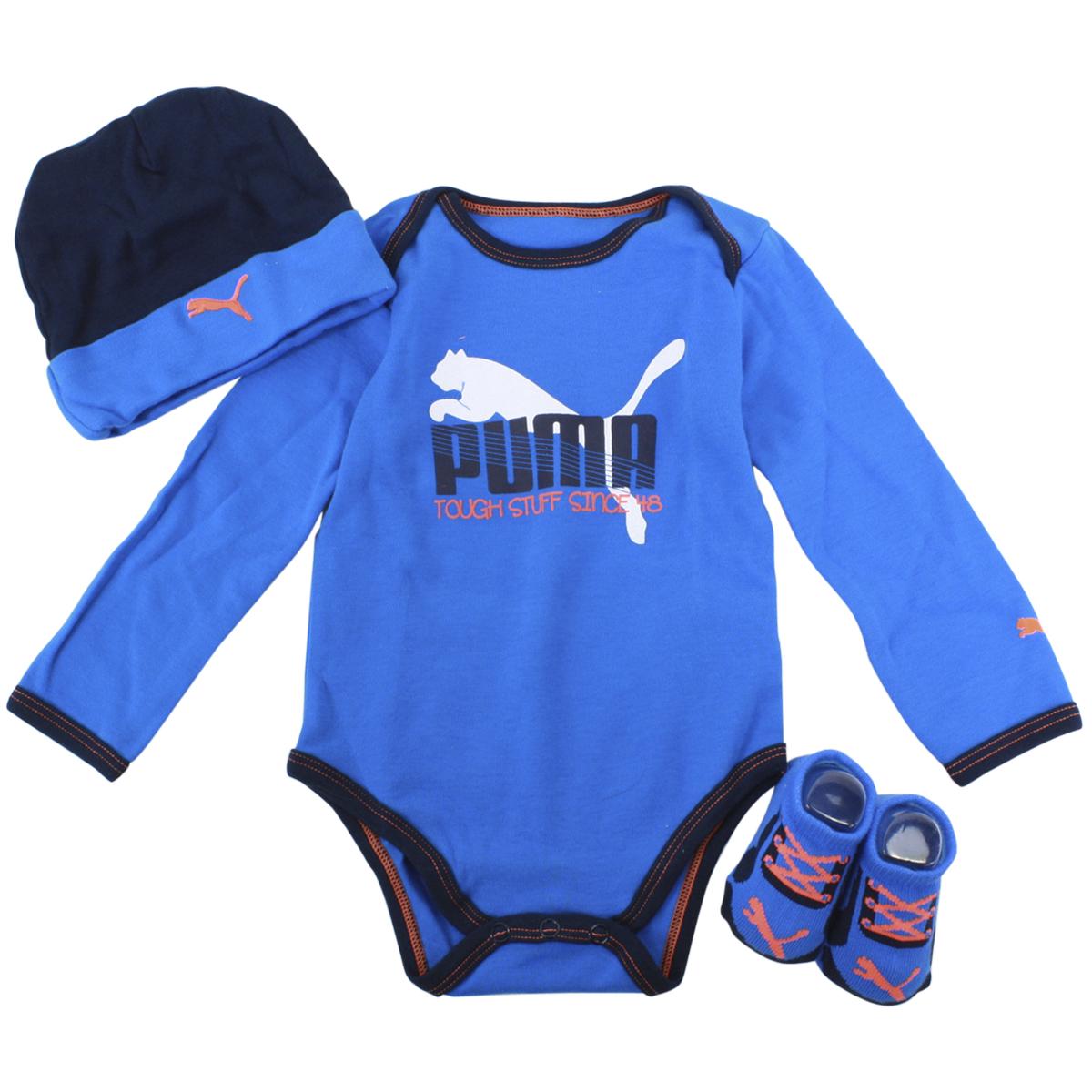 Puma Infant Boy s Bootie 3 Piece Long Sleeve Newborn Box Set 3-Piece Bootie Box Set; 01166007F