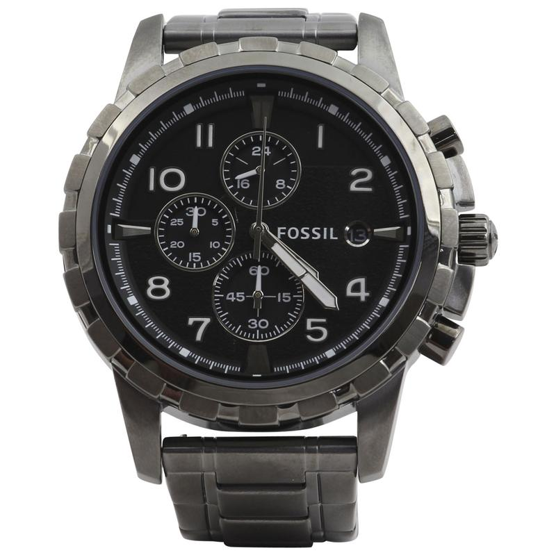 Image of Fossil Men s FS4721 Smoke Grey Stainless Steel Chronograph Analog Watch