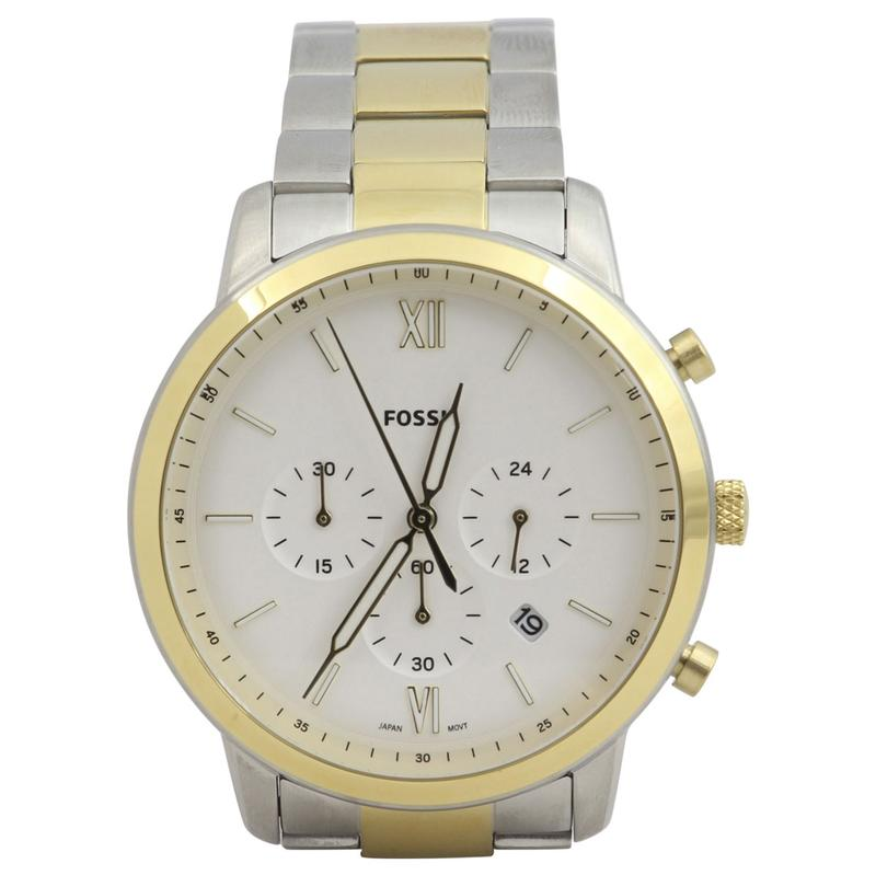Image of Fossil Men s FS55385 Silver Gold Stainless Steel Chronograph Analog Watch