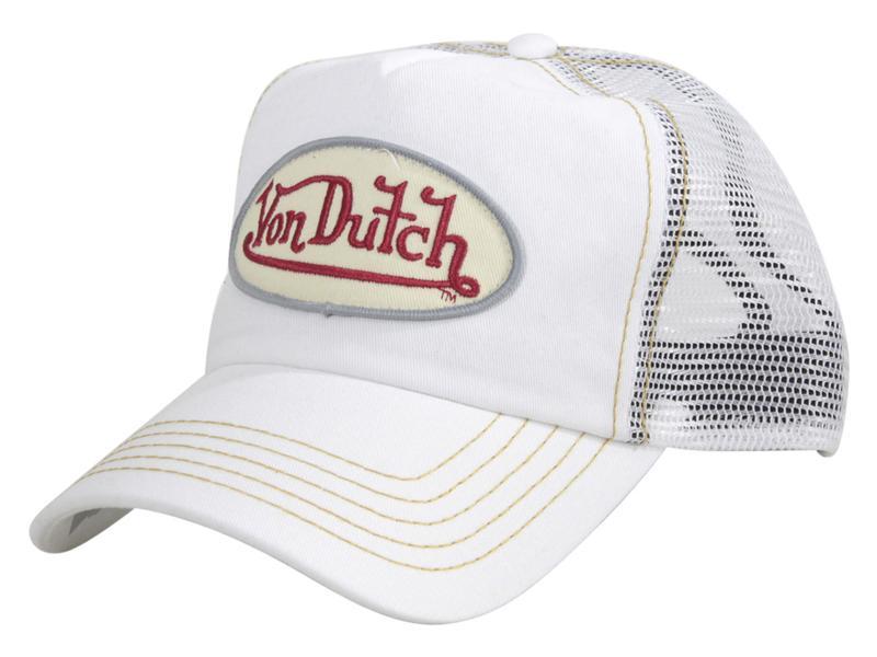 Von Dutch Men s Mesh Panel White Snapback Trucker Cap Hat (One Size ... f120befde8eb