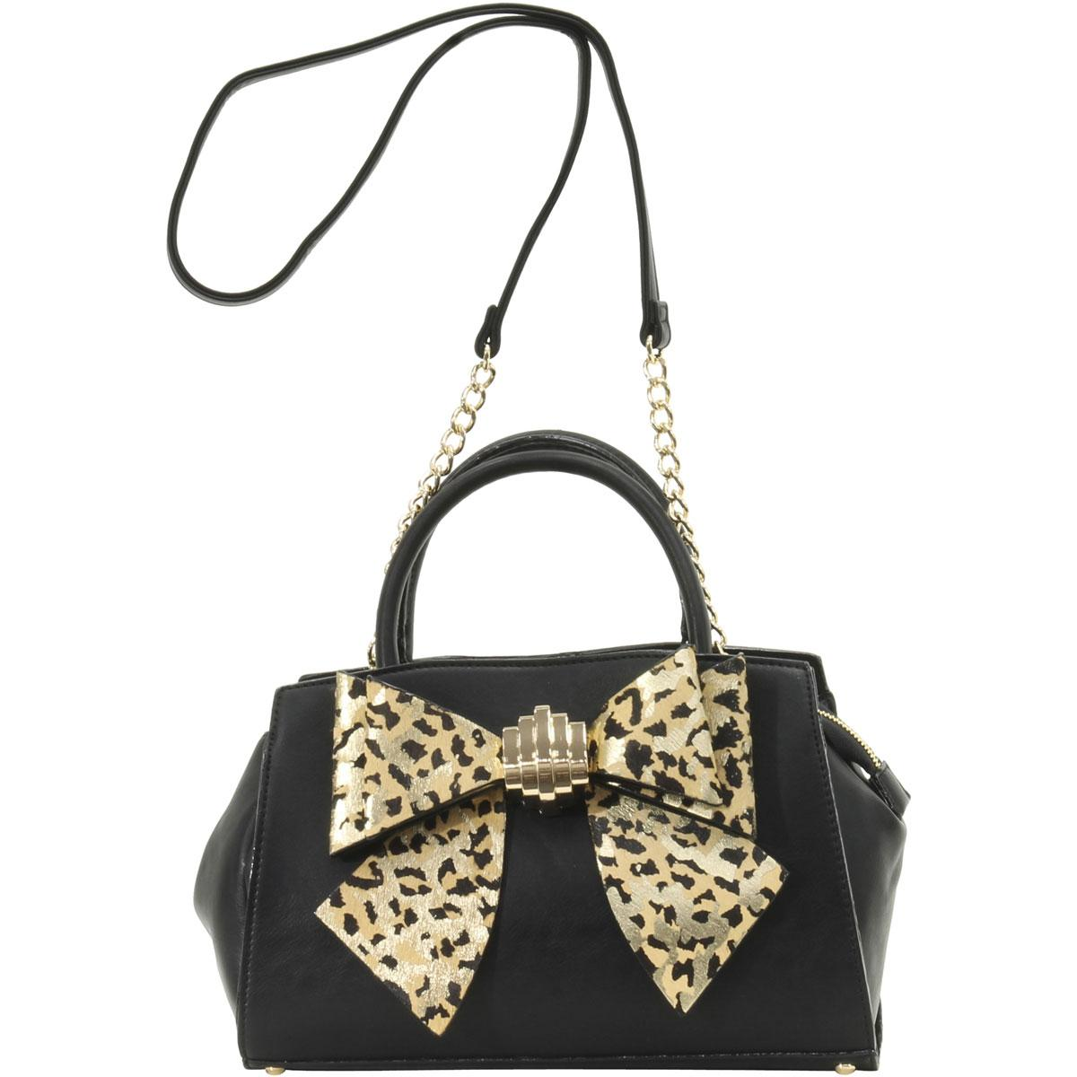 Betsey Johnson Women S Bow You See It Leopard Removable Satchel Handbag By