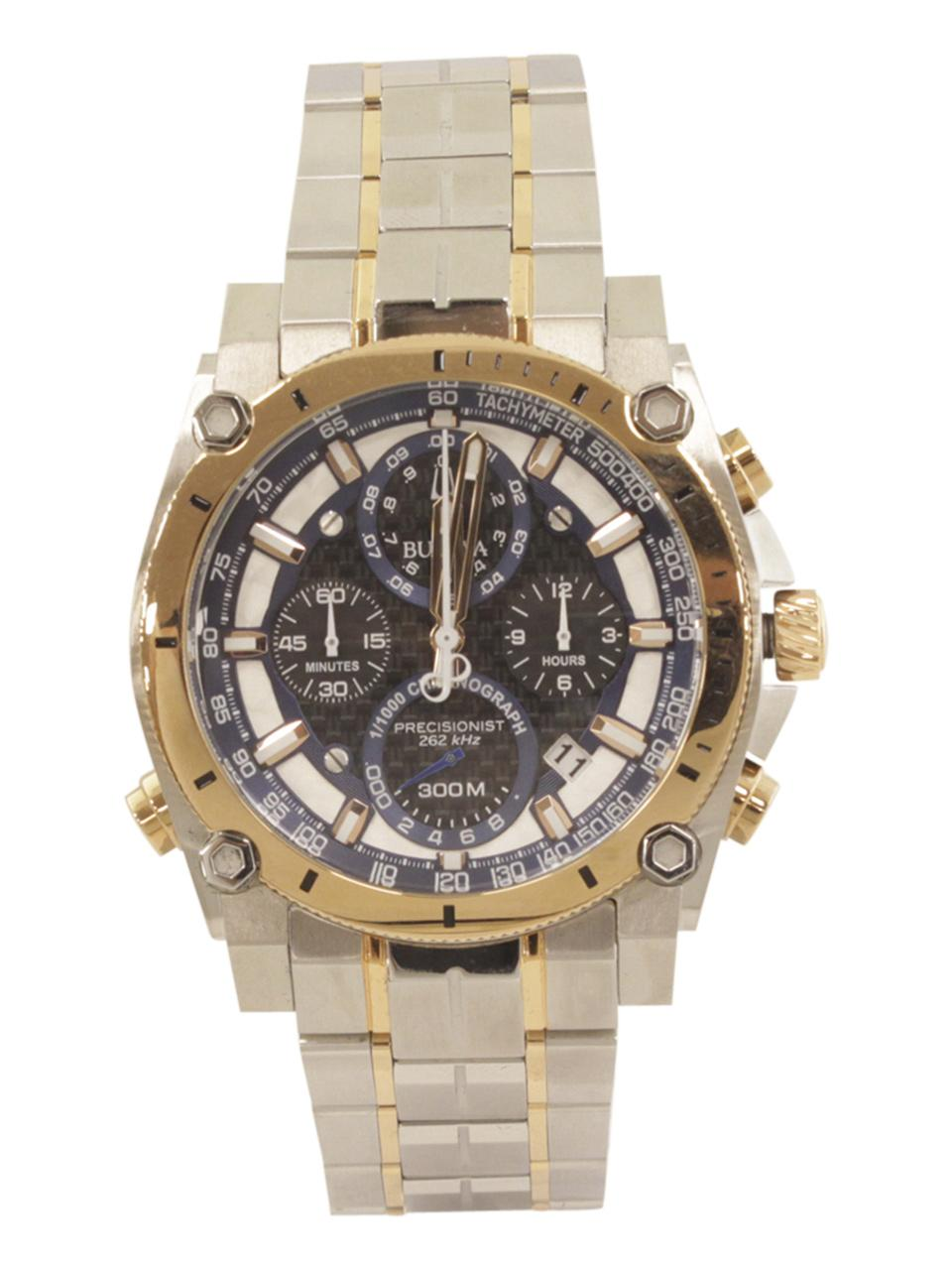Image of Bulova Men s Precisionist 98B317 Silver Rose Gold Chronograph Analog Watch
