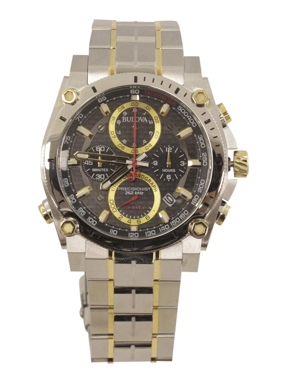 Image of Bulova Men s Precisionist 98B228 Two Tone Silver Gold Chronograph Analog Watch